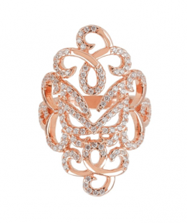 Vamp London Rose Gold Plated Hidden Mask CZ Ring