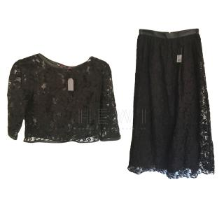 Mulberry heavy black leather trim lace skirt and top