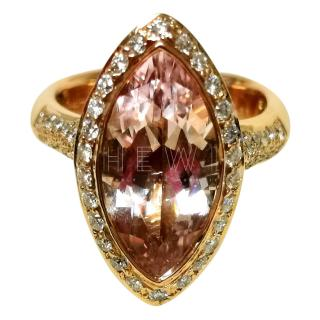 Bespoke 3.38 carat marquis morganite and diamond ring