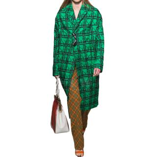 Marni runway green and black printed coat