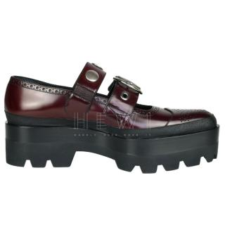 Mulberry Track Studs double strap red platform shoes