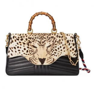 Gucci Leather & Horse Hair Leopard Print Bamboo Top Handle Bag