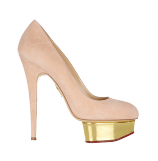 Charlotte Olympia Dolly Suede Platform Pumps in Blush