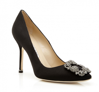 Manolo Blahnik Black Satin Hangisi 90 Pumps