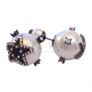 Dior Crystal Embellished Pearl Tribales Earrings