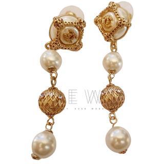 Chanel Faux Pearl Drop Gold Tone Earrings
