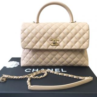 Chanel Beige Caviar Leather Coco Top Handle Bag