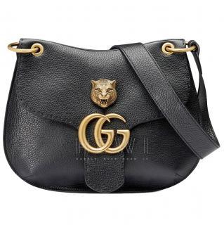 Gucci Animalier Marmont Black GG Shoulder Bag