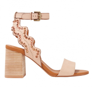 See by Chloe Embellished Scallop Block Heel Sandals