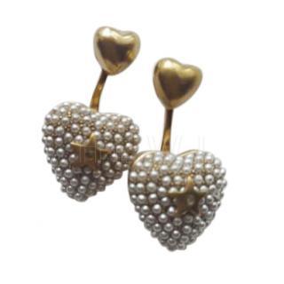 Dior Pearl Embellished Mini Heart Stud Earrings