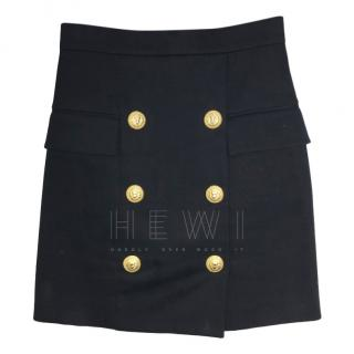 Balmain High Waist Black Mini Skirt