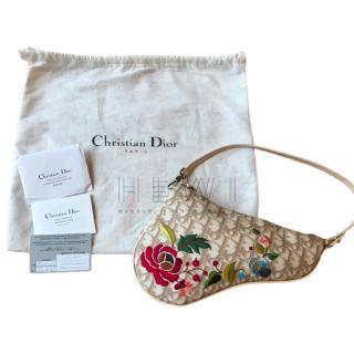 Dior Vintage Oblique Monogram Beige Embroidered Saddle Bag