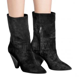 Ash Black Suede Cone Heel Ankle Boots