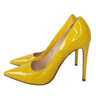 Prada Yellow Patent Leather 120 Pumps