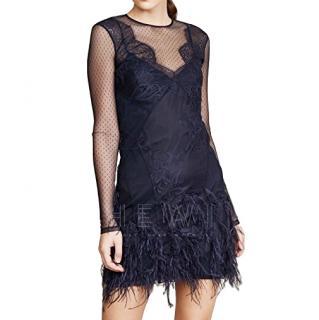 Cinq A Sept Anabella Feathered Mini Dress