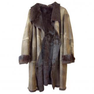 Joseph Suede & Rabbit Fur Chocolate Brown Coat