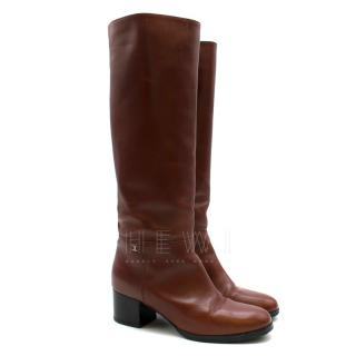 Chanel Brown Leather Low Heel Tall Boots