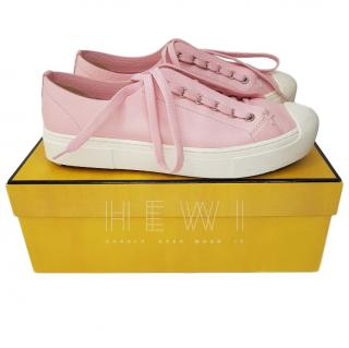 Fendi Flynn Flat Pale Pink Leather Sneakers
