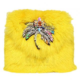 Shourouk Yellow Rabbit Fur Mini Daktari Bag