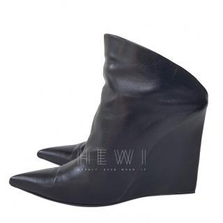 Balenciaga Black Leather Boveney Booties