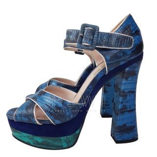 Miu Miu Blue Python Sandals