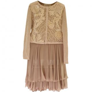 Valentino Boutique Beige Embroidered Silk Top & Georgette Skirt