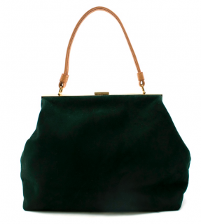 Mansur Gavriel Dark Green Elegant Suede Top Handle Bag