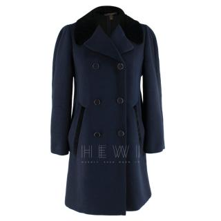 Louis Vuitton Double Breasted Navy Coat