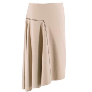 Bassike Taupe Asymmetric Skirt W/ Contrast Stitch Detail