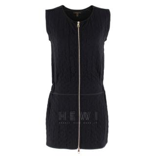 Louis Vuitton Black Sleeveless Monogram Embossed Zip Front Dress