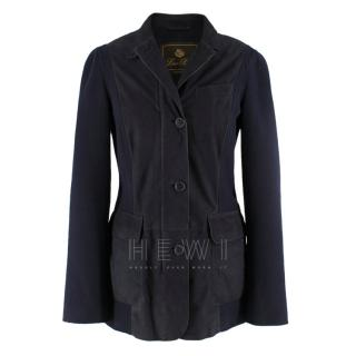 Loro Piana Two Tone Leather and Cotton Tailored Jacket