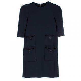 Louis Vuitton Blue Short Sleeve Wool Dress
