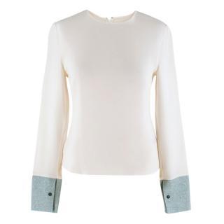 Roksanda Faille-Paneled Silk-Jersey Top
