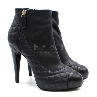 Chanel Navy Blue Quilted Leather Ankle Boots