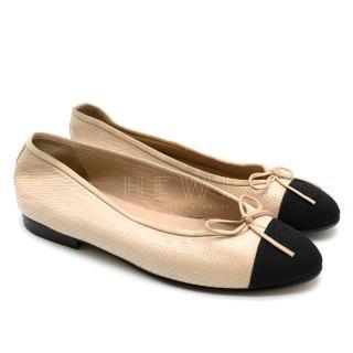 Chanel Cap-Toe Pearl Python Ballerina Flats