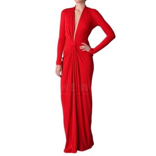 Issa Red Knotted Deep V-Neck Gown