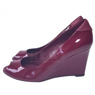 Gucci Vernice Cherry Gloss Leather Wedge Heels