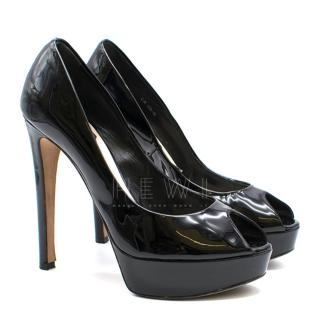 Christian Dior Patent Leather Open Toe Pumps