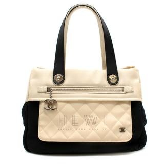 Chanel White & Black Canvas & Leather Tote Bag
