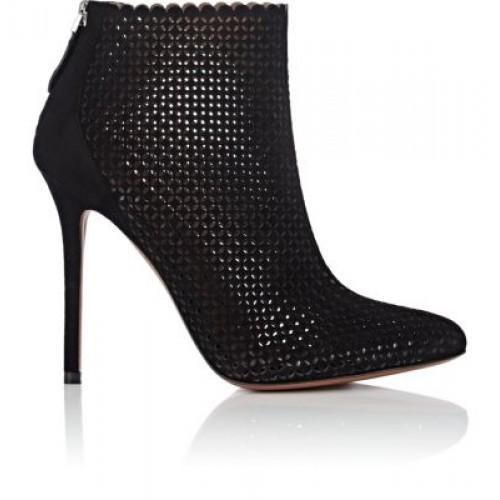 Alaia Black Laser Cut Ankle Boots