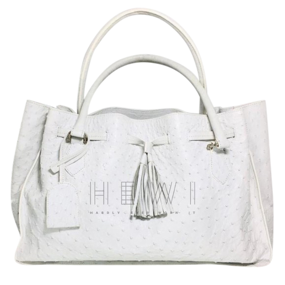 Safari White Ostrich Leather Tote Bag
