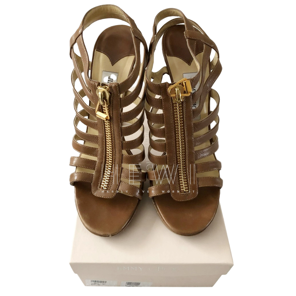 Jimmy Choo Camel Zip Front Cage Sandals