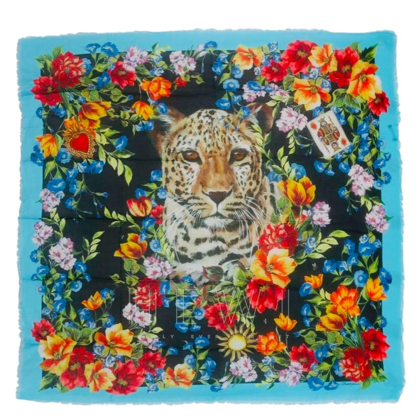 Dolce & Gabbana Leopard Floral Print Cashmere Blend Shawl