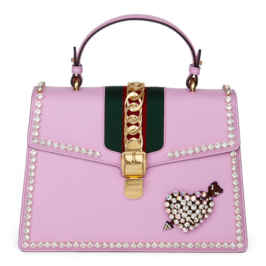 Gucci Pink Crystal Embellished Sylvie Top Handle Bag