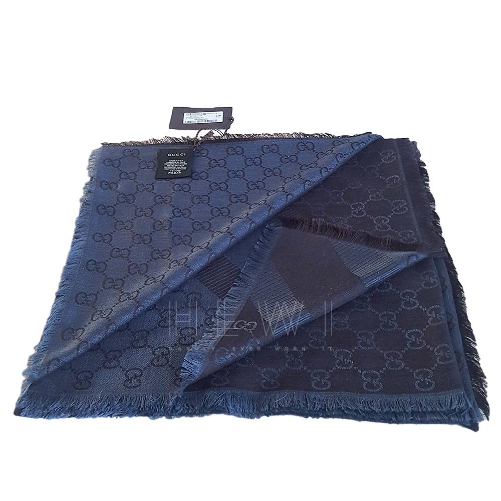 Gucci Blue Guccissima Wool & Silk Scarf