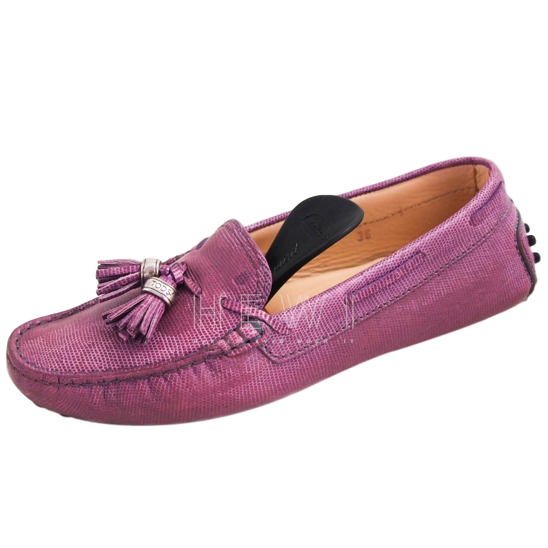 Tod's purple lizard embossed gommino driving loafers