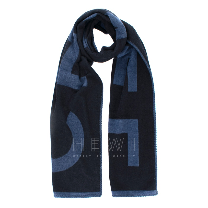 Chanel Blue Long Letter Logo Cashmere Scarf