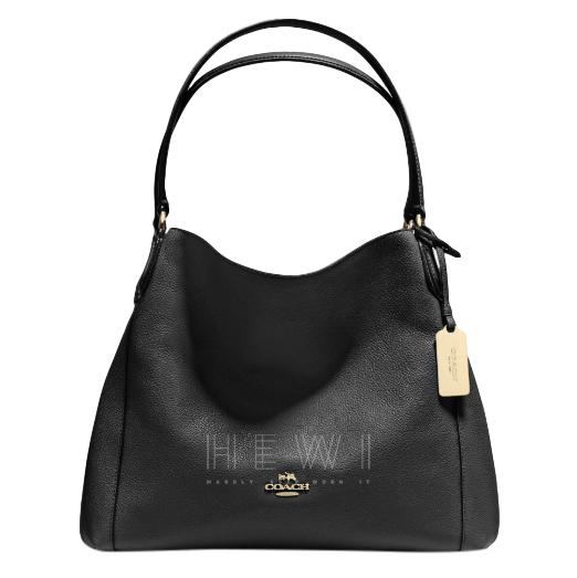 Coach Black Pebbled Leather Eddie Shoulder Bag