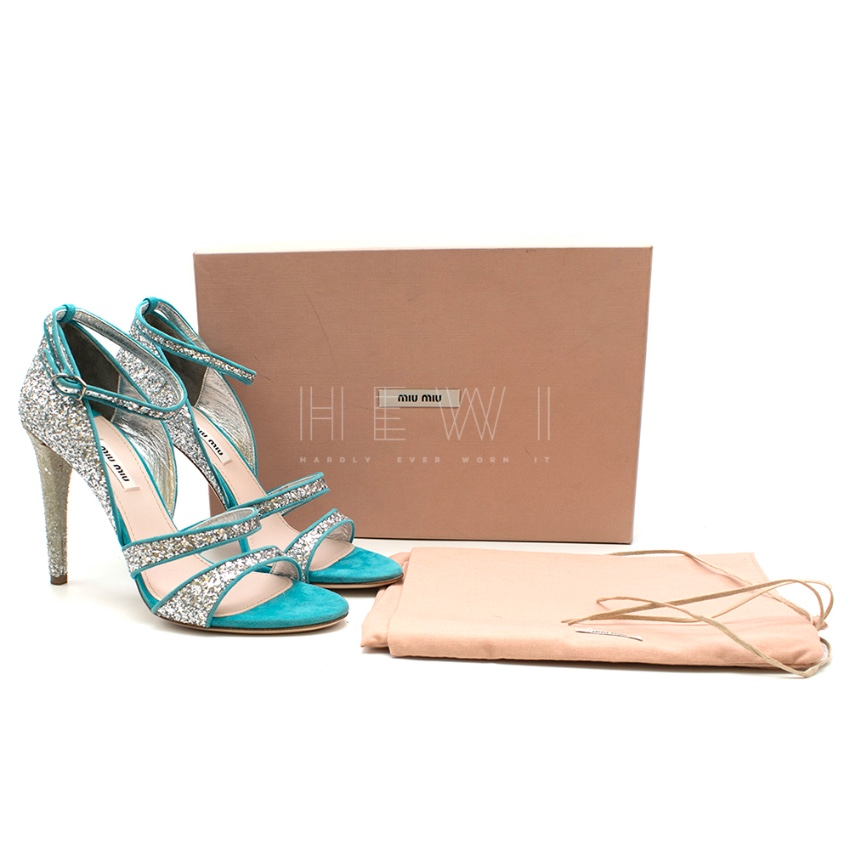 Mui Mui Silver Glitter Turquoise Leather Sandals