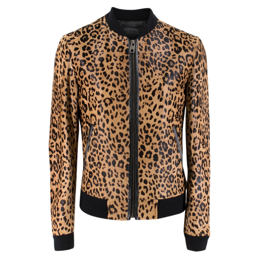 Dolce & Gabbana Men's Leopard Print Calf Hair Bomber Jacket